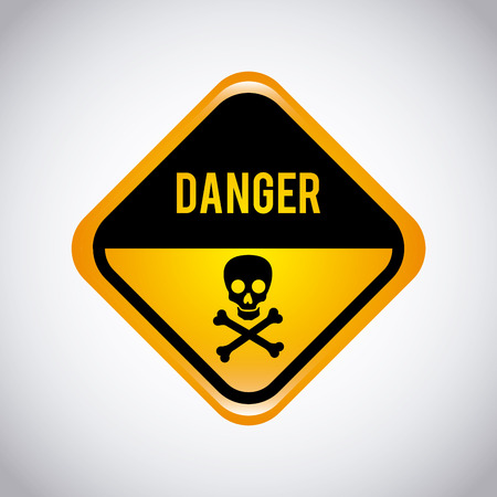 toxic accident: caution label over gray  background vector illustration