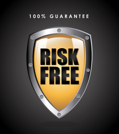 risk free over black background vector illustration Vector