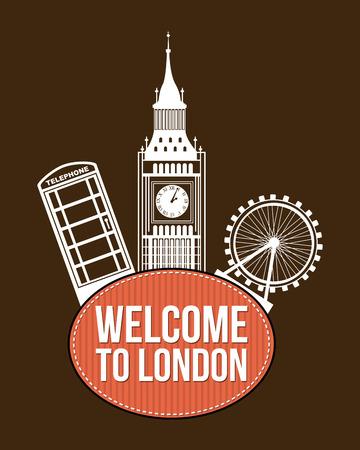 bigben: london design over brown background vector illustration Illustration