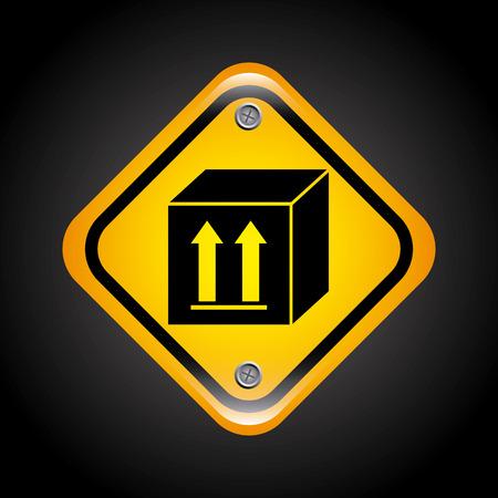 guard box: caution label over black background vector illustration