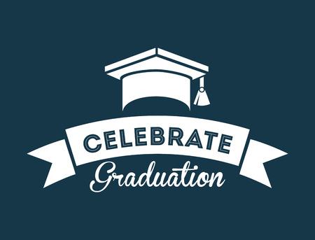 graduation design over blue background vector illustration
