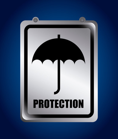 protector: security design over blue background vector illustration