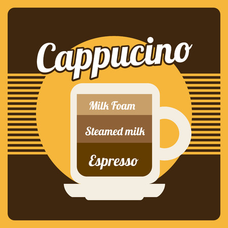 cappucino: koffie ontwerp over bruine achtergrond vector illustratie
