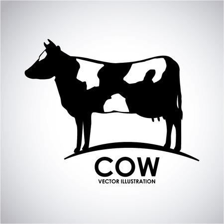 animales de granja: dise�o de la vaca sobre fondo gris ilustraci�n vectorial