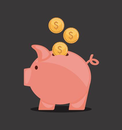 piggy design over black  background vector illustration