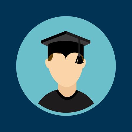 finished: graduation design over blue  background vector illustration