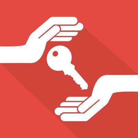 hand and key: insurance design over pink  background vector illustration