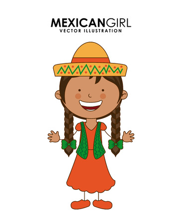 mexican dress: diversity of races over white  background vector illustration Illustration