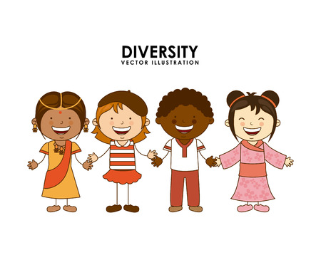 diversity of races over white  background vector illustration Illustration