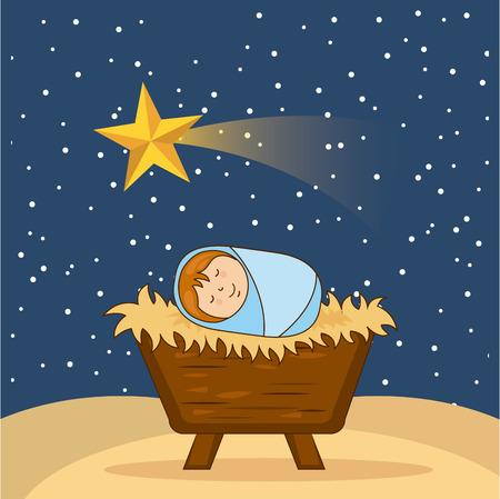 baby jesus: christmas design over sky background vector illustration