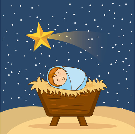 kerstmis ontwerp over hemel achtergrond vector illustratie Vector Illustratie