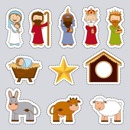 manger: christmas design over gray background vector illustration Illustration