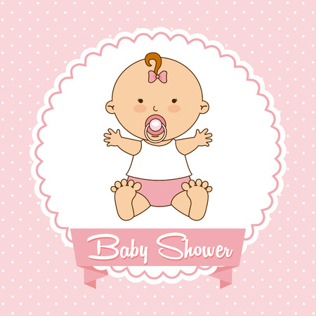 birth announcement: baby design over pink background vector illustration Illustration