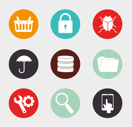 bugs shopping: Security design over white background, vector illustration
