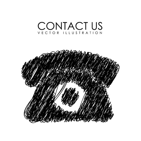 contactus: communication design over white background vector illustration