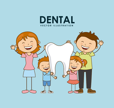 tandheelkundige ontwerp op blauwe achtergrond vector illustratie