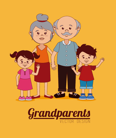 Grand parents design over yellow background, vector illustration Vector