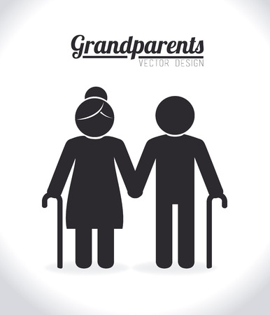 happy old people: Grand parents design over white background, vector illustration