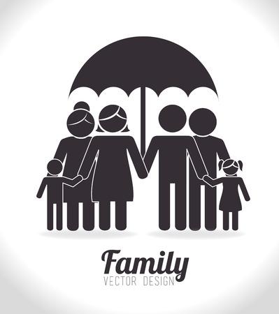 Diseño de Familia sobre el fondo blanco, ilustración vectorial