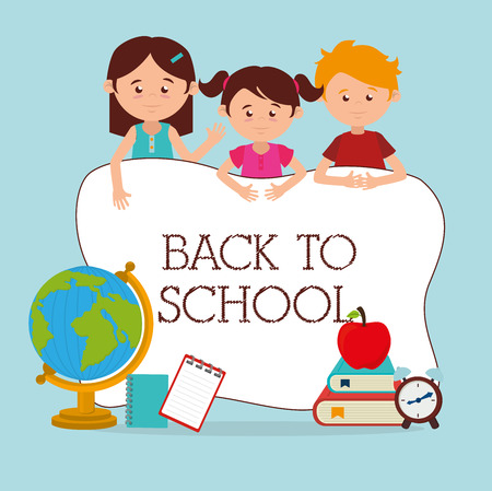 Back to school design over blue background, vector illustration Vector