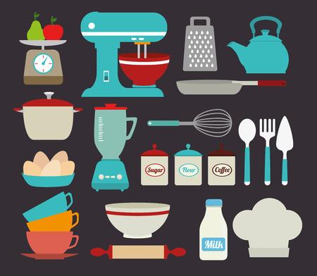 cooking utensils: Kitchen design over gray background, vector illustration
