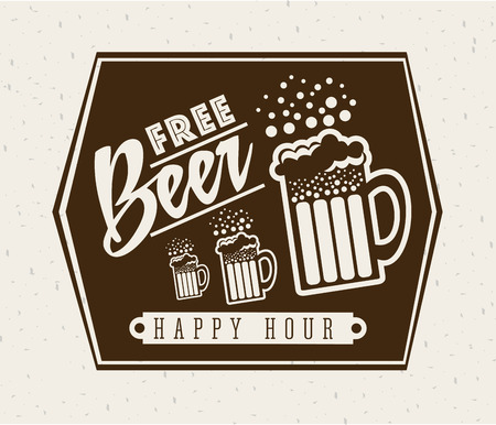 beer design over brown background vector illustration Vector