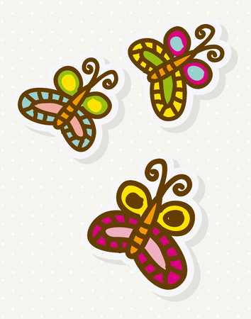 buterfly: Butterfly design over beige background, vector illustration