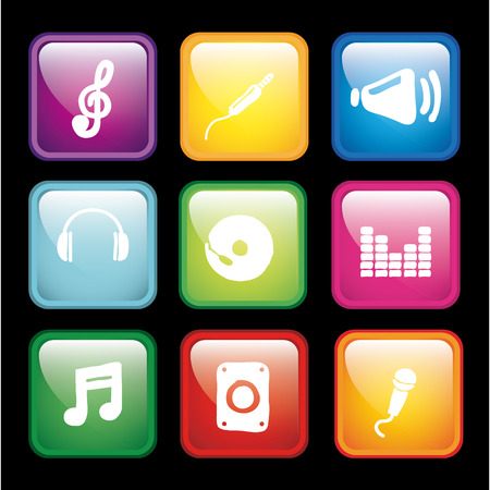 audio icons over black background vector illustration