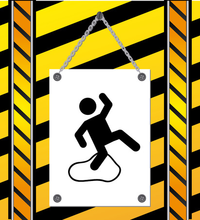 slippery floor: caution signal over yellow background vector illustration