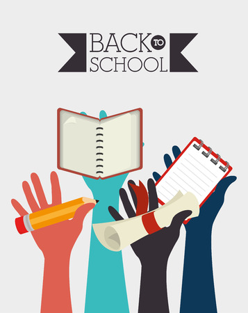 silhouttes: Back to School design over white background, vector illustration Illustration