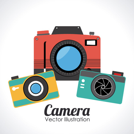 Camera design over white background, vector illustration Vector