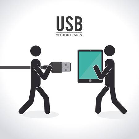 plugged: Illustration of a usb being plugged into a device