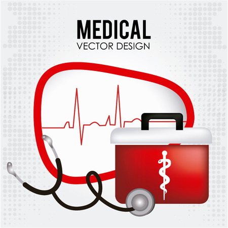 medical box: Illustration of a medical box and a stethoscope Illustration