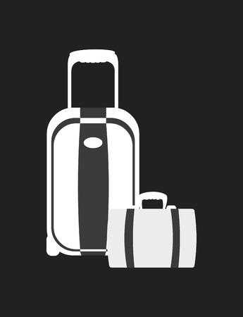 haversack: luggage over black background, vector illustration
