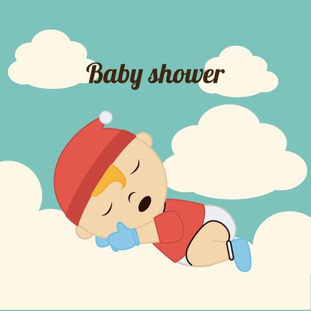 Baby shower  card design over blue background, vector illustration Vector