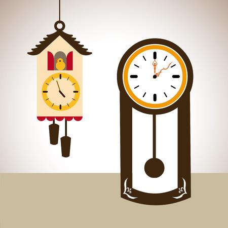 reloj de pendulo: Ilustraci�n de un reloj de cuco y un reloj de p�ndulo