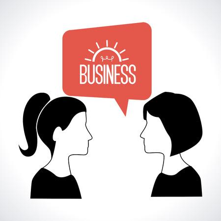 women talking: Illustration of two women talking business Illustration