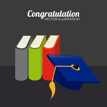 Illustration of books and a mortarboard Illustration