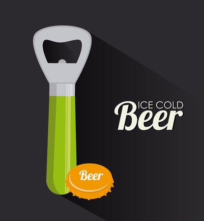 Illustration of a bottle opener and a beer bottle cap