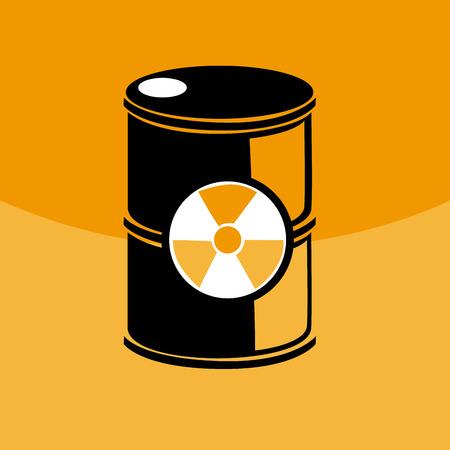radioactive symbol: Ilustraci�n de un barril con un s�mbolo radiactivo
