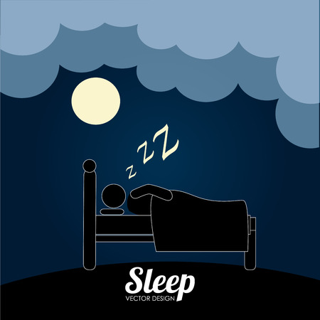 Illustration of a person sleeping at night