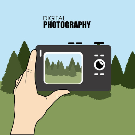 taking picture: Illustration of a person taking picture with a digital camera