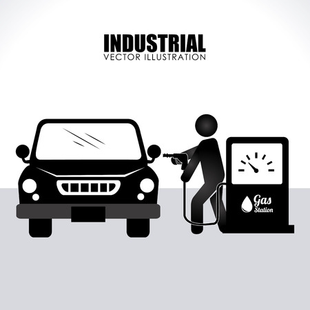 Illustration of a man pumping petrol into his car Illustration