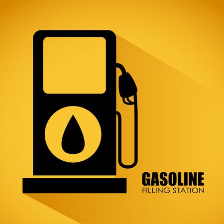 filling station: gasoline filling station  over yellow background, vector illustration Illustration