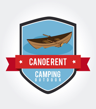 row boat: Camping shield design of a row boat