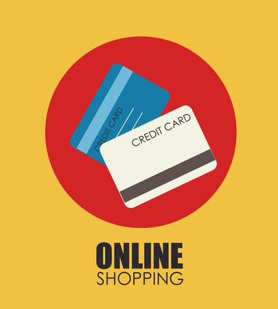 Online shopping design of credit cards 向量圖像