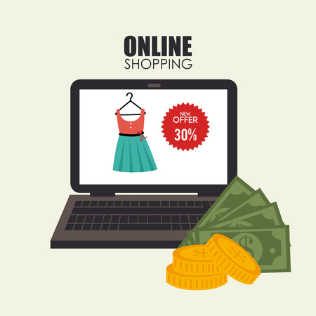 depicted: Online shopping depicted with laptop and cash