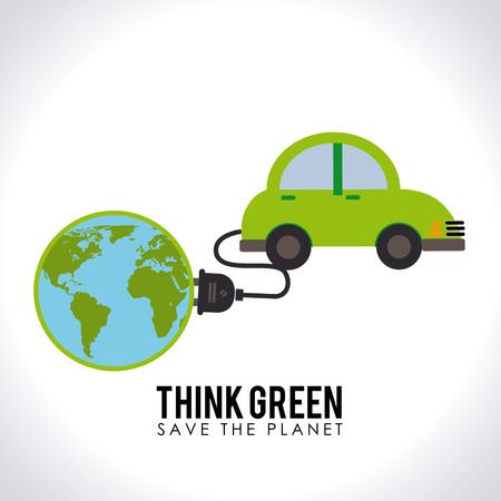 Illustratie van een elektrische auto aangesloten op een wereldbol