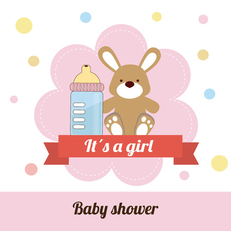 stuff toy: Illustration of baby bottle and stuff toy Illustration