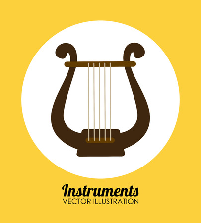 harp over yellow background, vector illustration